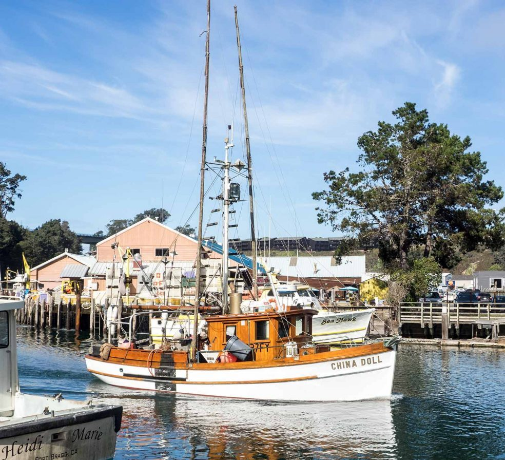 Wooden Fishing Boat in Noyo Harbor, Fort Bragg, Mendocino County, California
