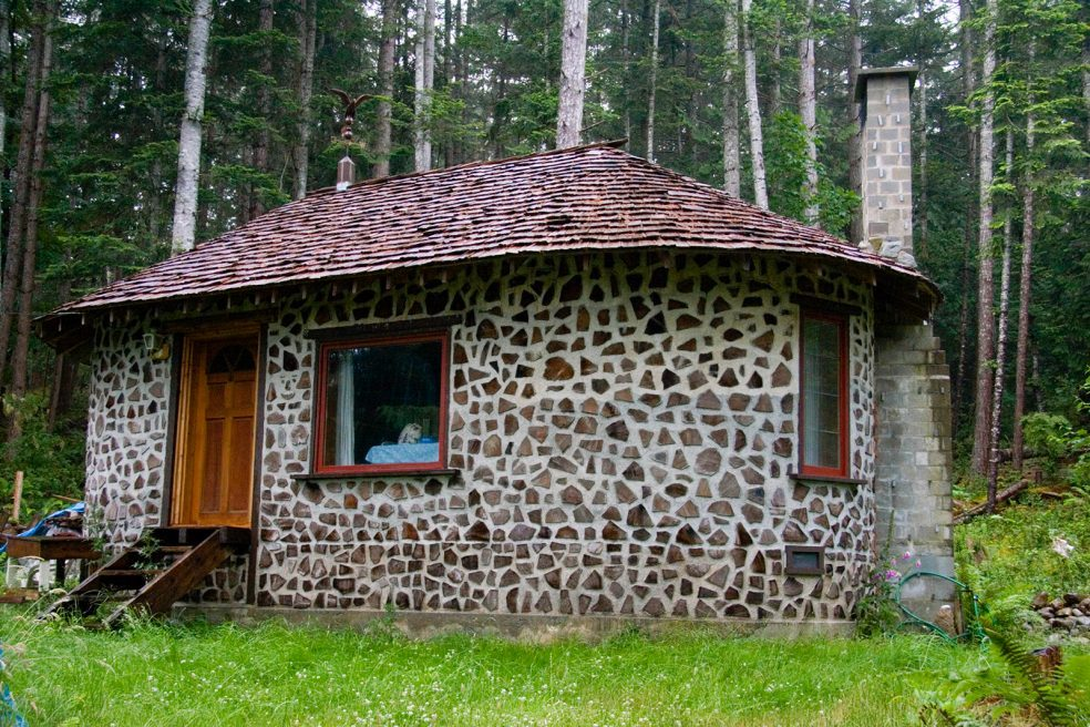 Cordwood Cabin on British Columbia Island