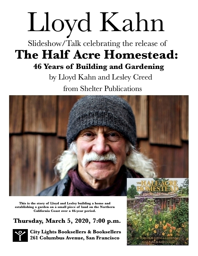 My First Bookstore Appearance on The Half-Acre Homestead at City Lights Bookstore Thursday March 5